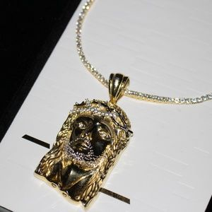 3mm Tennis Chain ICED OUT w/ Jesus Pendant